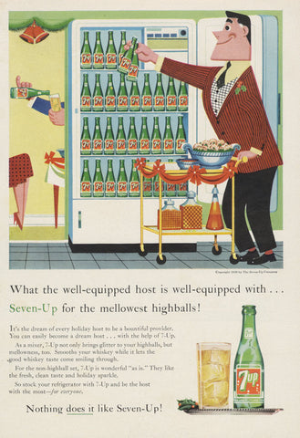 Vintage 7-Up Cola Ad 1958 Seven Up Soda Pop Advertisement Art Print Retro Wall Decor