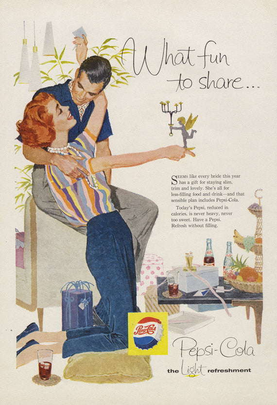 Vintage Pepsi Ad Bride Couple Art Illustration Weird Diet Advice Soda Pop Advertising Art 1958 Print Office / Living Room Wall Decor
