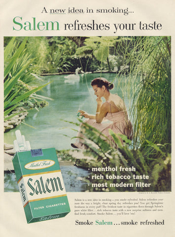 1957 Salem Menthol Cigarettes Ad Woman Swan Lake Photo Vintage Smoking Advertisement Art Print Retro Wall Decor