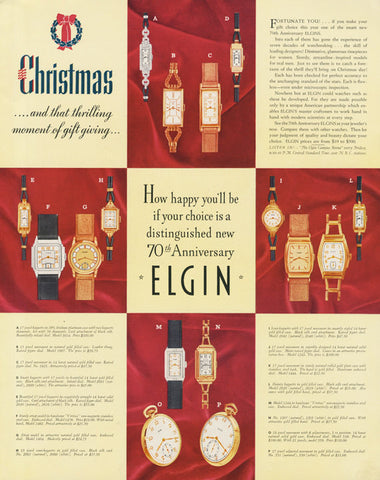 1935 Elgin Watch Ad Christmas Holiday Wristwatch Advertisement 70th Anniversary Print Jewelry Store Shop Wall Art Decor