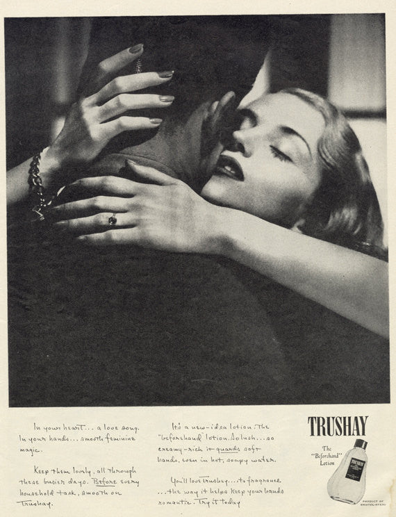 Vintage Beauty Ad Trushay Lotion Advertisement 1950s Couple Embracing Romantic Black & White Photo Nail Salon Manicure Valentine's Day Decor