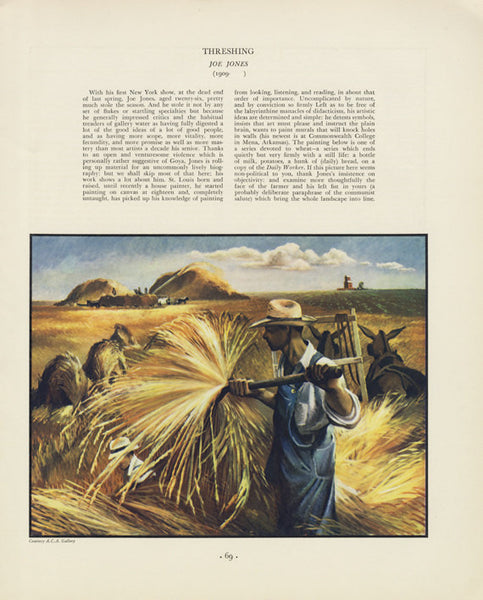 Threshing Joe Jones Farmer Illustration 1935 Magazine Art Print / Thanksgiving Doris Lee Wall Decor