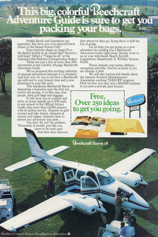 1977 Beechcraft Baron 58 Airplane Aviation Wall Art Decor 70s Travel Print