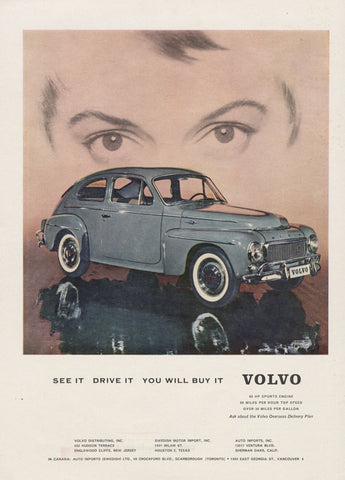 Rare 1959 Volvo Ad Grey Automobile 1950s Classic Car Photo Advertisement Mid Century Print Wall Art Decor