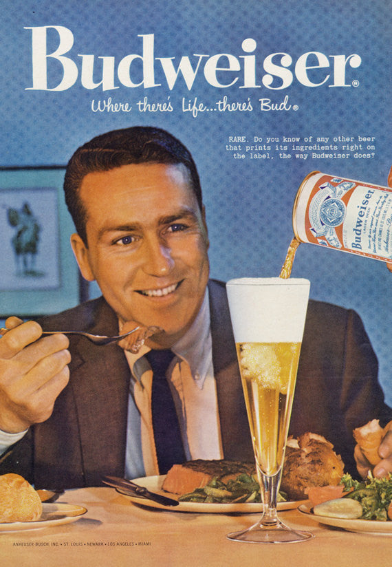 Vintage Budweiser Beer Ad 1959 Advertisement Print Retro Man Eating Steak Dinner Drinking Pint Retro Photo Bar Restaurant Kitsch Wall Art