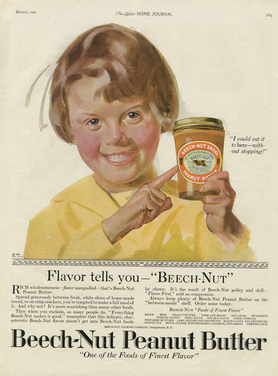 1921 Beech-Nut Peanut Butter Vintage Advertisement Little Girl Illustration Art Food Ad Kitchen Wall Art Decor