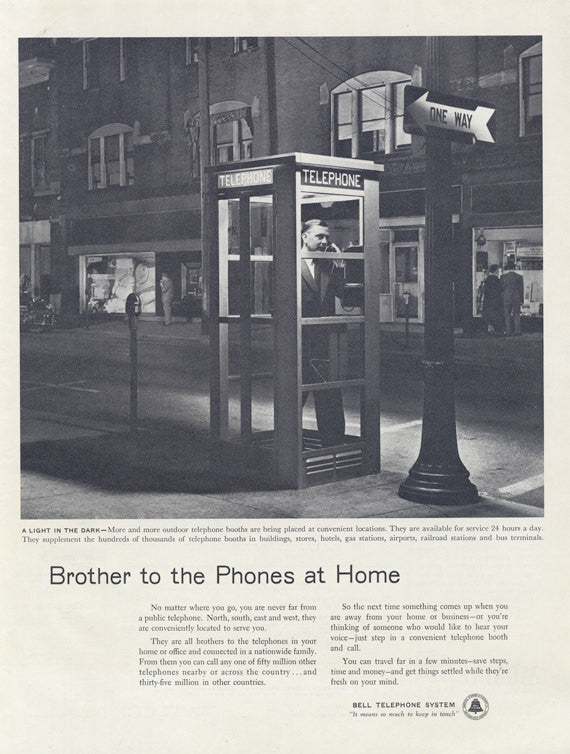 1955 Bell Telephone System Vintage Ad Man Talking in Phone Booth Photo Black & White Print Wall Art Decor