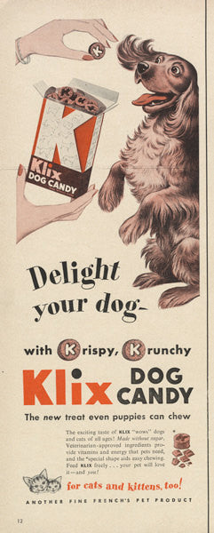 1950s Advertisement Klix Dog Candy Dog Treats Ad Print Wall Art Puppy Illustration Kitsch Decor