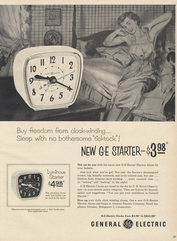 1953 GE Alarm Clock Ad General Electric Starter Vintage Electronics Advertisement Print Technology Advertising Retro Wall Art
