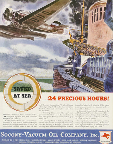 1935 Socony-Vacuum Oil Company Inc Vintage Advertisement Europa Plane Airplane Ship Illustration Art Print Office / Man Cave Wall Decor