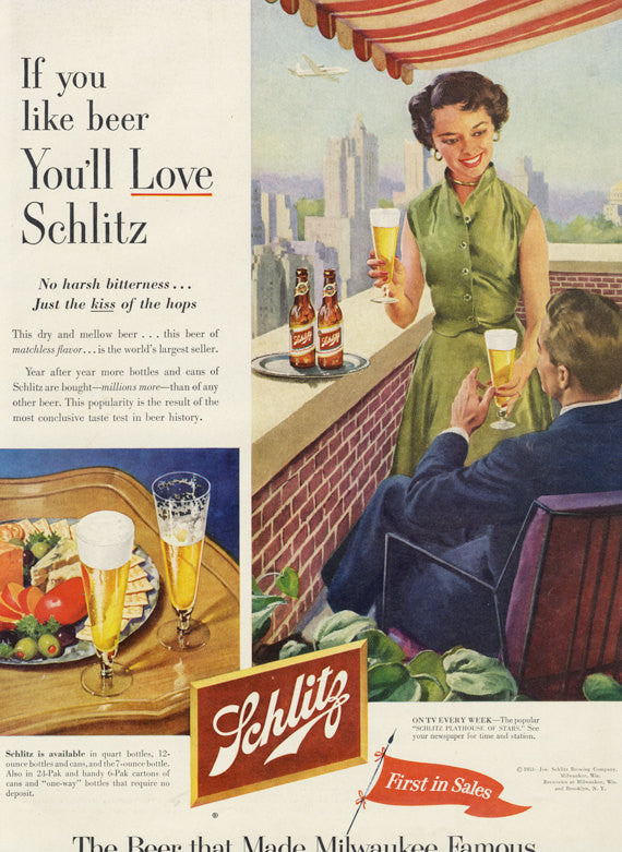 1953 Schlitz Beer Advertisement Mid Century Americana Brewery Wall Art City Patio Couple Retro Illustration Art Bar Pub Decor