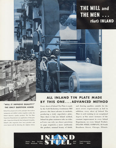 1935 Inland Steel Company Ad Rare Vintage Industrial Advertisement Print Office / Man Cave Wall Decor