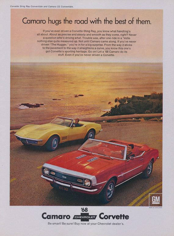 1968 Chevrolet Camaro SS Convertible & Chevy Corvette Sting Ray Car Ad Vintage Automobile Advertisement Print Garage Man Cave Wall Art Gift