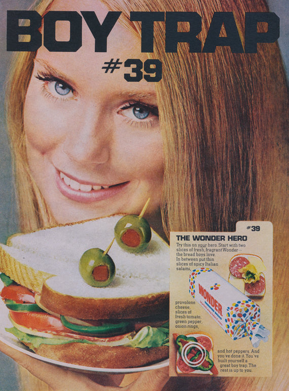 Wonder Bread Retro Ad 1969 Vintage Food Advertisement Print Boy Trap Hero Sandwich Photo Recipe 60s Print Kitchen Restaurant Wall Art