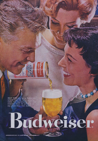 1950s Budweiser Beer Ad 1957 Vintage Advertisement Friends Drinking Retro Photo Print Bar / Man Cave / Bachelor Pad Mad Men Wall Art Decor