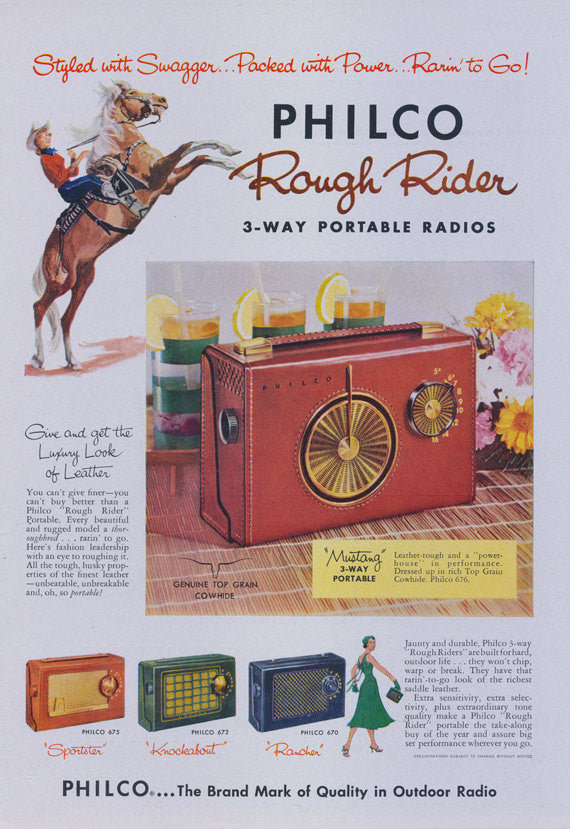 1950s Philco 3-Way Portable Radios Vintage Ad Rough Rider Leather Radio 1956 Vintage Advertisement Print Retro Electronics Wall Art Decor