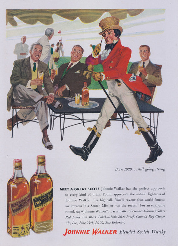 Johnnie Walker Scotch Whiskey Vintage Ad - 1956 Vintage Advertisement Whisky Print - Mid Century Liquor Wall Art - Retro Bar Decor