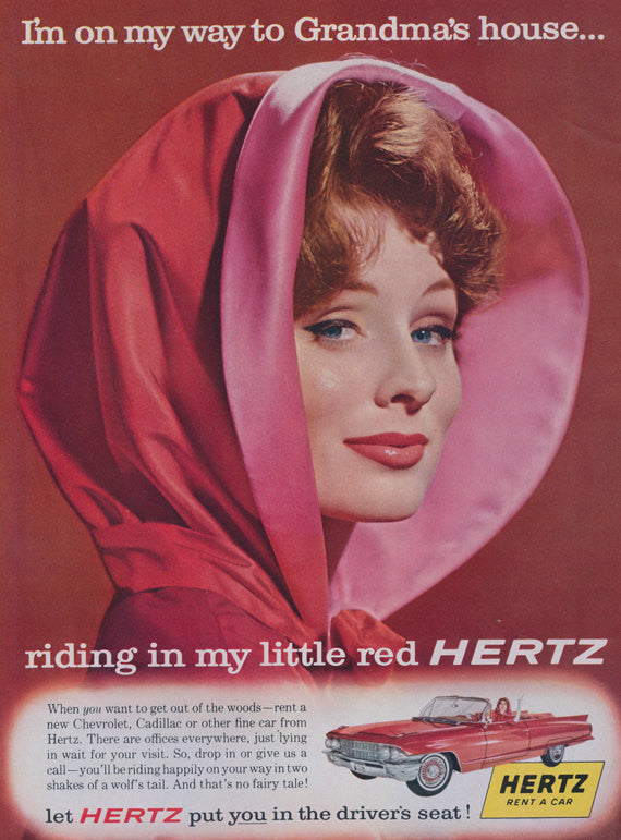 Mad Men Era Advertisement - Mod Woman Red Cape Photo - Little Red Riding Hood - Vintage Hertz Rent A Car Christmas Holiday Print Ad