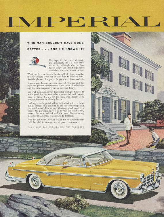 1955 Chrysler Imperial Car Ad Yellow Automobile Illustration Vintage Advertising Art Print Wall Decor