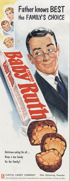 1955 Baby Ruth Candy Bar Ad Father Knows Best Vintage Candy Advertisement 1950s Print Shop Wall Art Decor