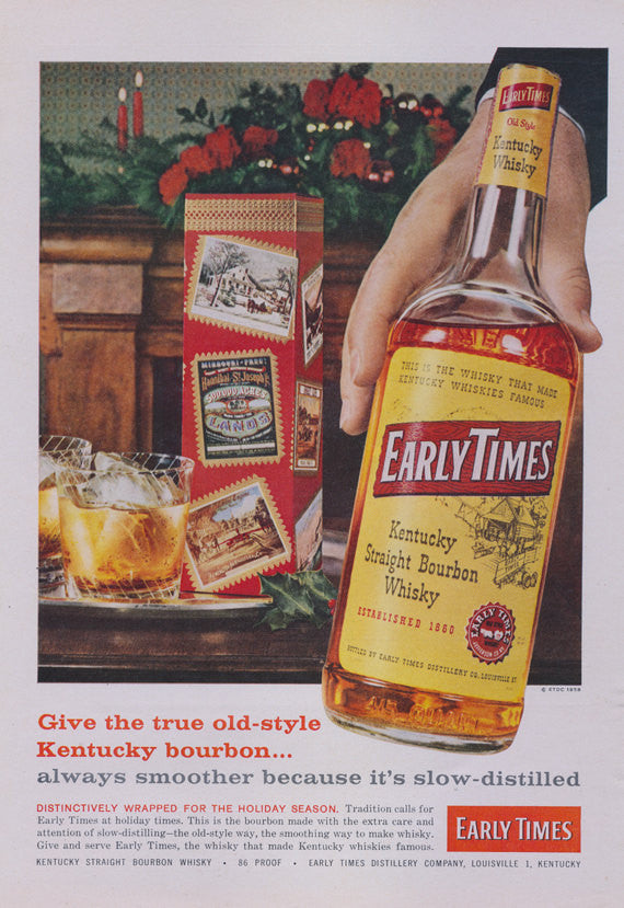 Early Times Whisky Vintage Ad 1958 Holiday Liquor Advertisement Print Mid Century Bar Pub Tavern Wall Art Decor