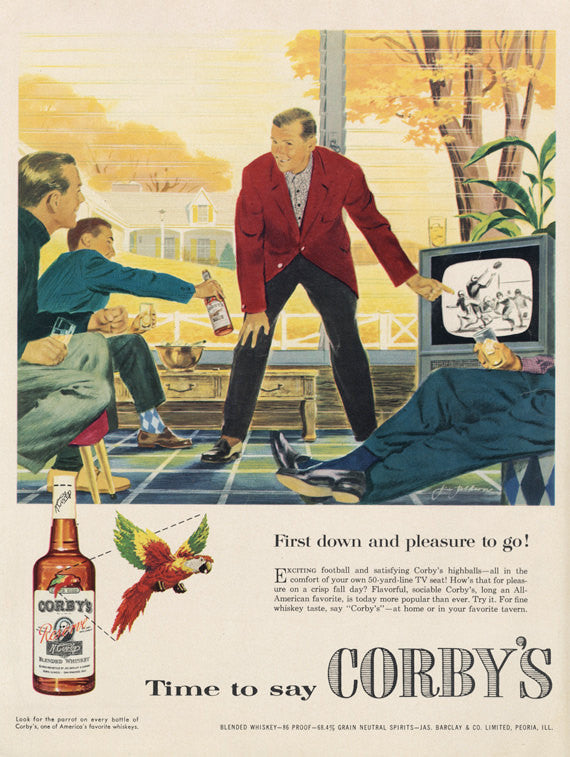 Corby's Whiskey Liquor Ad 1955 Whisky Advertisement Art Print Men Watching Football Illustration Retro Bar Pub Man Cave Home Wall Decor