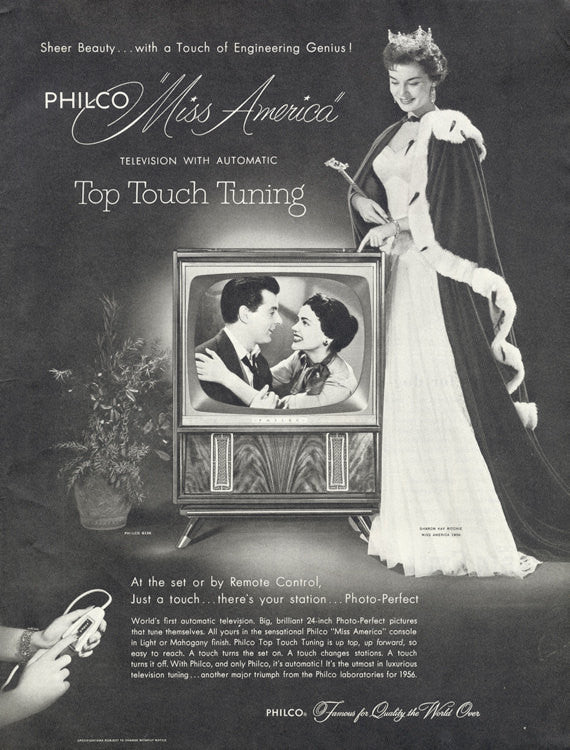 1955 Philco Television Ad Miss America Photo Print Sharon Kay Ritchie 1950s Vintage Electronics Wall Art Decor
