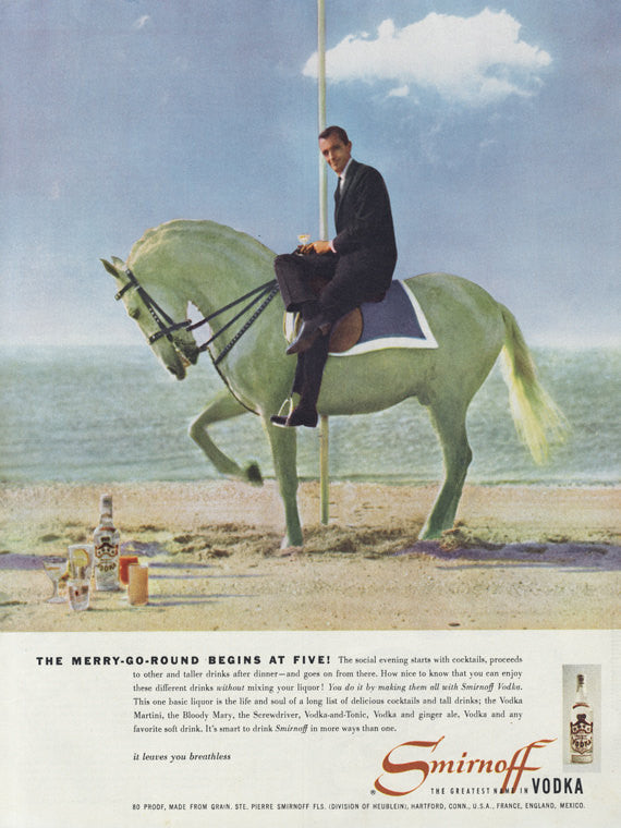 Smirnoff Vodka Vintage Ad Merry-Go-Round Horse 1955 Liquor Advertisement Print Retro 1950s Bar Wall Art Decor
