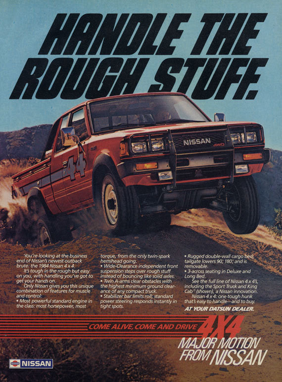 1984 Datsun Nissan 4 x 4 Truck Ad Vintage 4WD Pickup Truck Advertisement Print Man Cave / Garage / Auto Shop Wall Art Decor