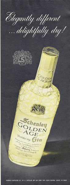 Schenley Golden Age Gin Ad 1955 Liquor Advertisement Print 1950s Bar Retro Wall Decor