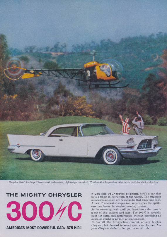 1957 Chrysler 300C Car Ad Helicopter Photo Vintage Automobile Advertisement Print - Gift for Him - Garage Wall Art - Car Dealership Decor