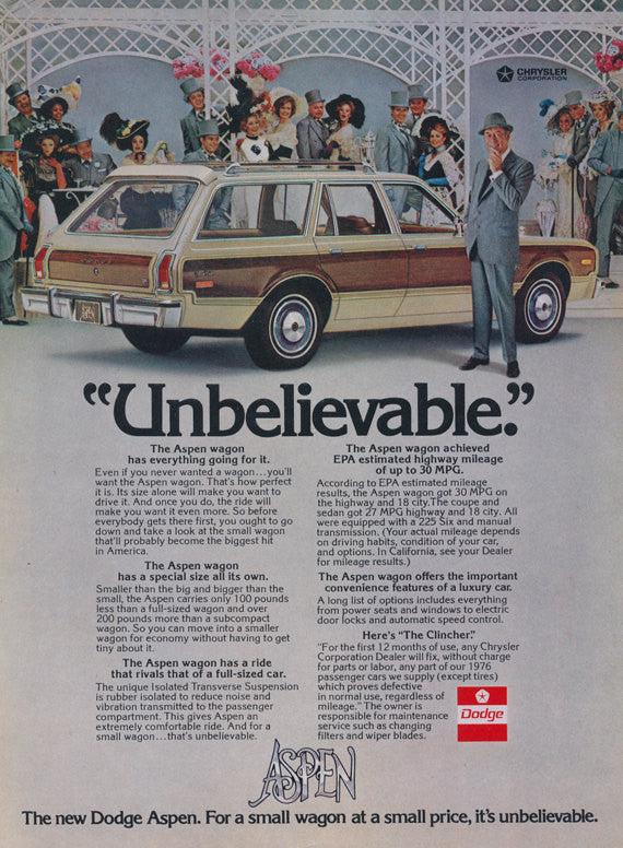 1976 Dodge Aspen Wagon Ad Chrysler Motor Corp Vintage Vehicle Advertisement Print Wall Art