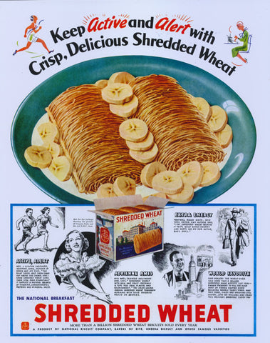 1936 Shredded Wheat Breakfast Cereal w/ Bananas Ad Vintage Food Advertisement Art Poster Glossy Print Retro Kitchen Wall Art / Cafe Decor