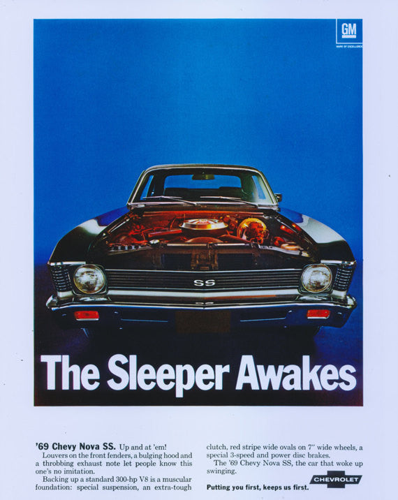 "1969 Chevy Nova SS Muscle Car Ad Poster Print ""The Sleeper Awakes"" Chevrolet Auto Retro Advertisement Glossy Photo - Mechanic Gift for Him"