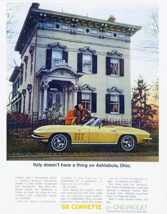 1966 Chevrolet Corvette Poster Print Vintage Chevy Convertible Advertisement Art Garage Wall Decor - Gift for Him