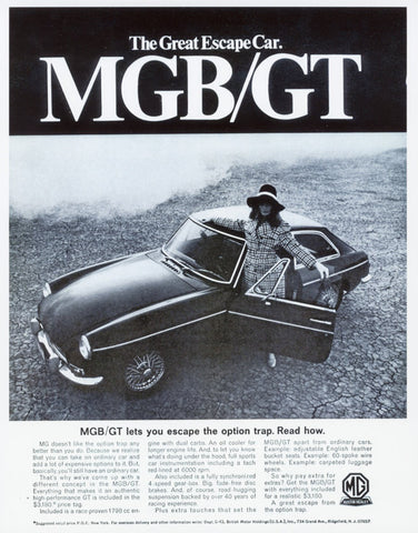1968 MGB GT Vintage Sports Car Ad Poster Print The Great Escape Cars Black & White Photo 1960s Austin Healey Great Gatsby Wall Art