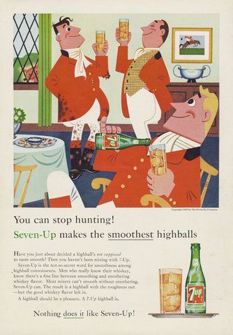 1959 Seven-Up Ad Aristocrat Hunters Art Illustration 7-Up Cola Highball Vintage Soda Pop Advertisement Hunting Print Retro Bar Wall Art