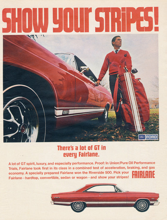 1967 Ford Fairlane GT Red Car  with Stripes Vintage Advertisement Print Man Golfer Photo Print Mad Men Retro Wall Art