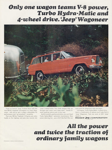 1965 Jeep Wagoneer Truck Airstream Travel Trailer Ad Print Vintage Advertisement Wall Art Decor