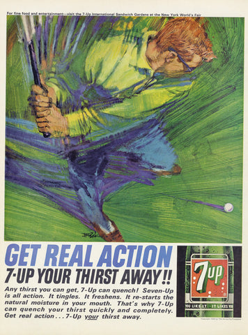 7-Up Ad Seven Up Cola 1964 Vintage Soda Pop Advertisement Art Print Golfer Illustration Retro Mad Men Era Advertising Golfing Wall Decor