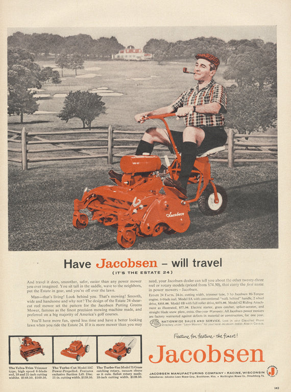1959 Jacobsen Riding Lawnmower Ad Man Mowing Lawn Smoking Pipe Funny Vintage Lawn Mower Advertisement Retro Print Mid Century Mod Wall Art