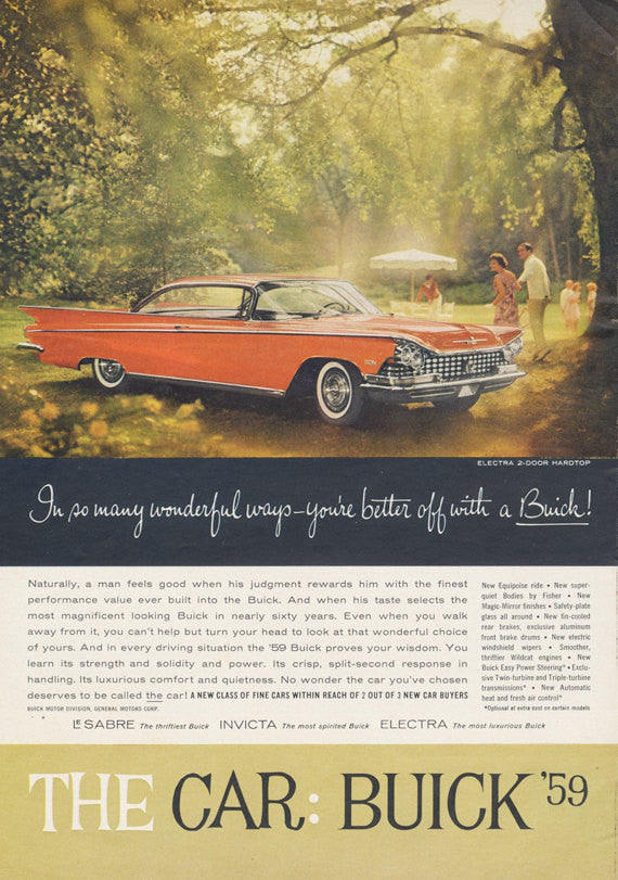 1959 Buick Electra 2-Door Hardtop Classic Car Ad Vintage Automobile Advertisement Print Wall Art