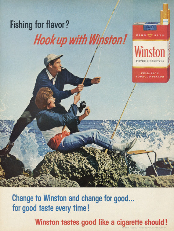 1965 Winston Cigarettes Ad Retro 60s Couple Fishing Photo Vintage Smoking Advertisement Print Wall Art Decor