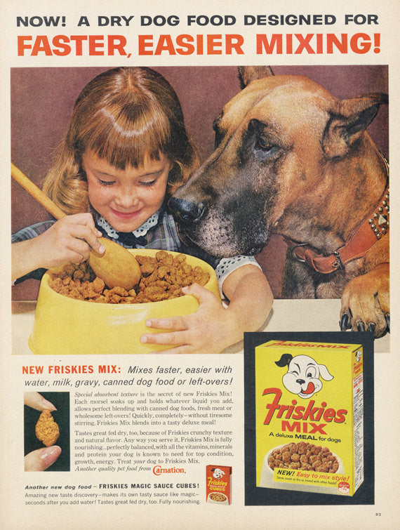 1962 Friskies Mix Dog Food Ad Great Dane Little Girl Photo Vintage Advertisement Cute Print Wall Art Decor