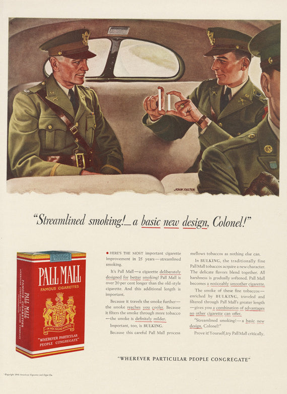 WWII Era Pall Mall Cigarettes Vintage Advertisement US Army Officers Colonel Illustration John Falter Art Print Man Cave  Gift for Him
