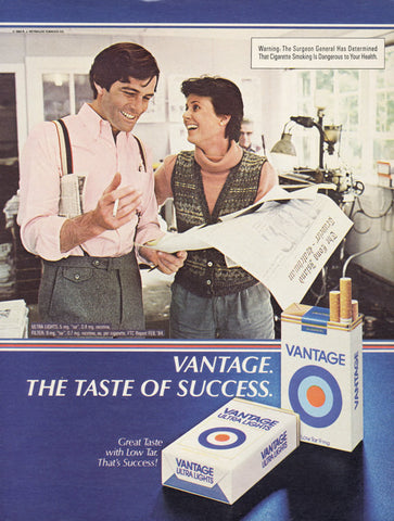 1984 Vantage Cigarettes Ad Taste of Success Vintage Tobacco Advertising Print Retro Wall Art