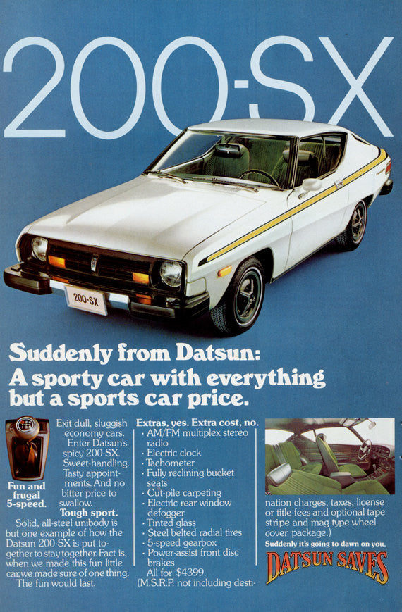 1977 Nissan Datsun 200-SX Car Ad Vintage Auto Advertisement Print Retro Wall Art Decor