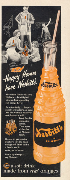 1950s Soda Pop Ad Nesbitt's Orange Soft Drink Vintage Advertisement Art Print Retro Kitchen Wall Art Diner Decor