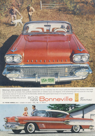 1958 Pontiac Bonneville Vintage Car Advertisement Print Garage / Man Cave Automotive Wall Art - Gift for Him