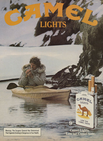 1984 Camel Lights Cigarettes Ad Vintage Cigarette Advertisement Man Kayak Smoking Photo Print Man Cave / Bar Wall Decor